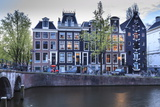 Old Gabled Houses Line the Keizersgracht Canal at Dusk  Amsterdam  Netherlands  Europe
