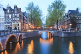 Keizersgracht and Leidsegracht Canals at Dusk  Amsterdam  Netherlands  Europe