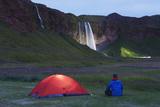 Seljalandsfoss Waterfall Lit Up at Night  Southern Region  Iceland  Polar Regions
