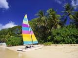 Colourful Yacht Moored on St James Beach  Barbados  Caribbean