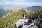 Hiker on Trail  Pirin National Park  UNESCO World Heritage Site  Near Bansko  Bulgaria  Europe