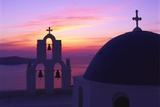 Church and Bell Tower at Sunset  Santorini  Cyclades  Greece