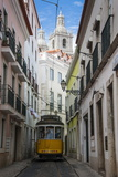 Famous Tram 28 Going Through the Old Quarter of Alfama  Lisbon  Portugal  Europe