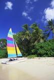 Man Lying on His Sailing Boat at St James Beach  Barbados  Caribbean