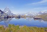 Camping at a Lake Near the Matterhorn  4478M  Zermatt  Valais  Swiss Alps  Switzerland  Europe