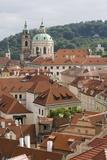 View of Rooftops  Church of St Nicholas Dome  Little Quarter  Prague  Czech Republic  Europe