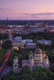 Elevated View at Dusk over Old Town  UNESCO World Heritage Site  Riga  Latvia  Europe