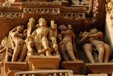 Sculptures on Jain Temple  Khajuraho  UNESCO World Heritage Site  Madhya Pradesh  India  Asia