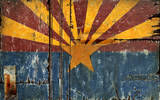 AZ Flag Vintage Wood Sign
