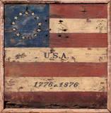Centennial Flag USA Vintage Wood Sign