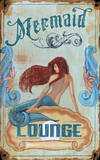 Mermaid Lounge Vintage Wood Sign