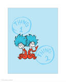Cat in the Hat Blue Collection II - Things 1 & 2 Back to Back (blue) Reproduction d'art par Theodor (Dr. Seuss) Geisel
