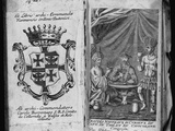 Coat of Arms of Colleredo-Meinz and Wallese Family and Three Men with New Drinks from their Country