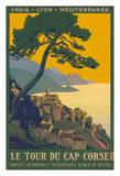 Corsica Island, France - Le Tour Du Cap Corse - Chemins de fer de Paris-Lyon-Méditerranée Railway Giclée par Roger Broders