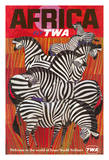 Africa - Trans World Airlines Fly TWA - Zebras Giclée