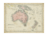 Map of Australia Reproduction d'art par Sidney Hall