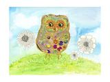 Owl and Flowers Giclée premium par Ingrid Blixt