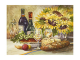 Wine and Sunflowers Reproduction d'art par Jerianne Van Dijk