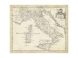 Map of Italy Reproduction d'art par T. Jeffreys