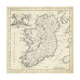 Carte d'Irlande Reproduction d'art par T. Jeffreys