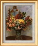 Fleurs dans un vase Art texturé encadré par Pierre-Auguste Renoir