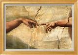 Creation of Adam, c.1510 Art texturé encadré par Michelangelo Buonarroti