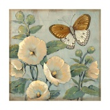 Butterfly and Hollyhocks I