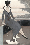 Art Deco Lady with Dog Reproduction d'art par Megan Meagher