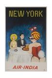 Air India Travel Poster, New York Playboy Bunny Giclée
