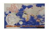 Imperial Airways Travel Poster  a Route Map of the Empire and European Air Routes