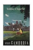 Landscape of Angkor Wat, Visit Cambodia 1950s Travel Poster Giclée