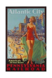 Pennsylvania Railroad Travel Poster  Atlantic City Bathing Beauty