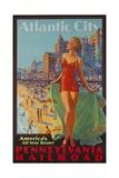 Pennsylvania Railroad Travel Poster, Atlantic City Bathing Beauty Giclée