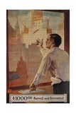 1920s American Banking Poster  $1000 Saved and Invested