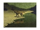 Moonlight, Wolf Giclée par Frederic Sackrider Remington