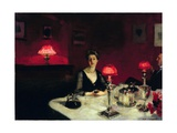 A Dinner Table at Night Giclée par John Singer Sargent