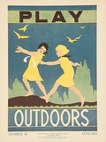 1938 Character Culture Citizenship Guide Poster  Play Outdoors