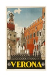 1930s Italian Travel Poster with Scaliger Tombs  Verona