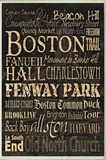 Boston Words and Cities Typography Rectangle Plaque