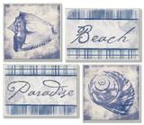 Beach  Paradise and Seashells Set of 4