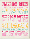 Girls Playroom Rules Typography Wall Plaque
