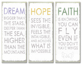 Dream Hope Faither Inspirational Typography Wall Plaque Trio