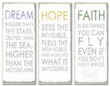 Dream Hope Faither Inspirational Typography Wall Plaque Trio
