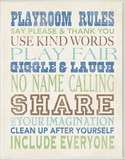 Boys Playroom Rules Typography Wall Plaque
