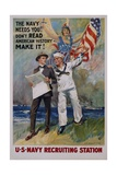 The Navy Needs You! US Navy Recruiting Station Poster