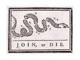 Join or Die Political Cartoon Giclée par Benjamin Franklin