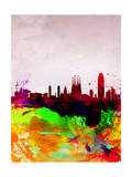 Barcelona Watercolor Skyline