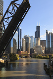 Chicago River and Towers of the West Loop Area