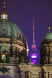 Close-Up of the Berliner Dom (Cathedral) with the Television Tower in the Background at Night