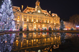 The Mairie (Town Hall) of Tours Lit Up with Christmas Lights  Tours  Indre-Et-Loire  France  Europe